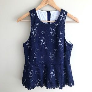 Anthropologie HD In Paris Lace Floral Peplum Top